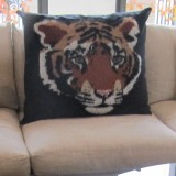 "Tiger Head – Large Designer Cushion in Black - 32"" x 26"""