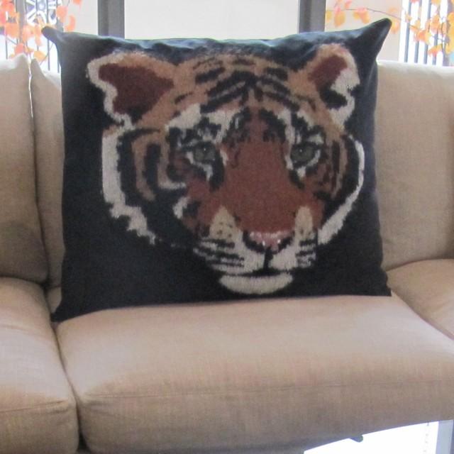 "Tiger Head – Large Designer Cushion in Black - 32"" x 26"""