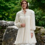 Three Quarter Fluted Coat in Cream